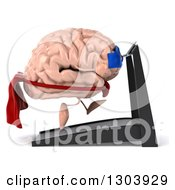 Clipart Of A 3d Super Hero Brain Character Facing Right And Running On A Treadmill Royalty Free Illustration