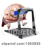 Clipart Of A 3d Super Hero Brain Character Facing Slightly Right And Running On A Treadmill Royalty Free Illustration
