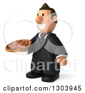 Clipart Of A 3D Happy Short White Businessman Facing Slightly Left And Holding A Pizza Royalty Free Illustration