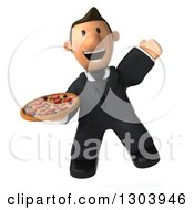 Clipart Of A 3D Happy Short White Businessman Jumping And Holding A Pizza Royalty Free Illustration