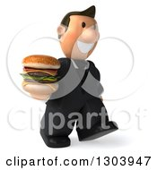 Clipart Of A 3D Happy Short White Businessman Walking To The Right With A Double Cheeseburger Royalty Free Illustration