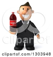 Clipart Of A 3D Happy Short White Businessman Holding A Soda Bottle Royalty Free Illustration
