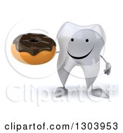 Clipart Of A 3d Happy Tooth Character Holding A Chocolate Frosted Donut Royalty Free Illustration