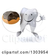 Clipart Of A 3d Happy Tooth Character Jumping And Holding A Chocolate Frosted Donut Royalty Free Illustration