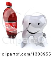 Clipart Of A 3d Happy Tooth Character Holding Up A Soda Bottle Royalty Free Illustration