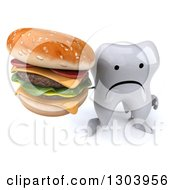 Clipart Of A 3d Unhappy Tooth Character Holding Up A Double Cheeseburger Royalty Free Illustration