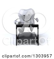 Clipart Of A 3d Happy Tooth Character Holding Plans And Running On A Treadmill Royalty Free Illustration