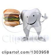 Clipart Of A 3d Happy Tooth Character Holding Up A Finger And A Double Cheeseburger Royalty Free Illustration