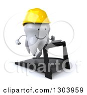 Clipart Of A 3d Happy Contractor Tooth Character Facing Slightly Right Holding Plans And Running On A Treadmill Royalty Free Illustration