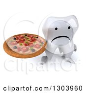 Clipart Of A 3d Unhappy Tooth Character Holding Up A Pizza Royalty Free Illustration