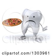 Clipart Of A 3d Unhappy Tooth Character Shrugging And Holding A Pizza Royalty Free Illustration