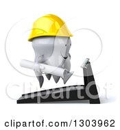 Clipart Of A 3d Happy Contractor Tooth Character Facing Right Holding Plans And Running On A Treadmill Royalty Free Illustration