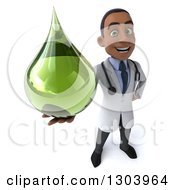Clipart Of A 3d Young Black Male Naturopathic Doctor Holding Up A Green Medicine Or Tincture Drop Royalty Free Illustration by Julos