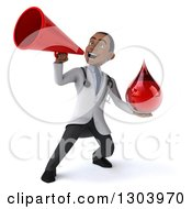 Clipart Of A 3d Young Black Male Phlebotomist Doctor Holding A Blood Drop And Announcing Upwards With A Megaphone Royalty Free Illustration