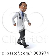 Clipart Of A 3d Young Black Male Doctor Walking To The Right Royalty Free Illustration