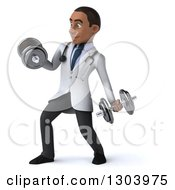 Clipart Of A 3d Young Black Male Physical Therapist Doctor Working Out And Doing Bicep Curls With Dumbbells Royalty Free Illustration
