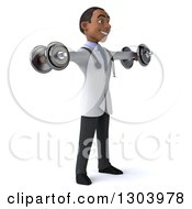 Clipart Of A 3d Young Black Male Physical Therapist Doctor Working Out Facing Right And Doing Lateral Raises With Dumbbells Royalty Free Illustration