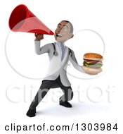 Clipart Of A 3d Young Black Male Doctor Holding A Double Cheeseburger And Announcing With A Megaphone Royalty Free Illustration