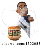 Clipart Of A 3d Happy Young Black Male Doctor Holding A Double Cheeseburger Around A Sign Royalty Free Illustration