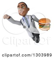 Clipart Of A 3d Young Black Male Doctor Holding A Double Cheeseburger And Flying Royalty Free Illustration