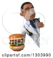Clipart Of A 3d Unhappy Young Black Male Doctor Holding A Double Cheeseburger Around A Sign Royalty Free Illustration