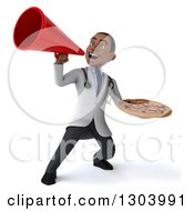 Clipart Of A 3d Young Black Male Doctor Holding A Pizza And Using A Bullhorn Royalty Free Illustration