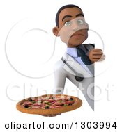 Clipart Of A 3d Unhappy Young Black Male Doctor Holding A Pizza Around A Sign Royalty Free Illustration