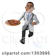 Clipart Of A 3d Young Black Male Doctor Sprinting And Holding A Pizza Royalty Free Illustration