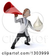 Clipart Of A 3d Young Black Male Doctor Holding A Lotion Soap Or Milk Drop And Announcing Upwards With A Megaphone Royalty Free Illustration