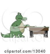 Focused Alligator Playing A Game Of Billiards Pool Clipart Illustration