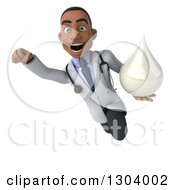 Clipart Of A 3d Young Black Male Doctor Flying And Holding A Lotion Soap Or Milk Drop Royalty Free Illustration