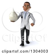 Clipart Of A 3d Young Black Male Doctor Walking And Holding A Lotion Soap Or Milk Drop Royalty Free Illustration