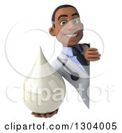 Clipart Of A 3d Young Black Male Doctor Holding A Lotion Soap Or Milk Drop Around A Sign Board Royalty Free Illustration