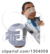 Clipart Of A 3d Young Black Male Doctor Holding A Euro Symbol Around A Sign Royalty Free Illustration