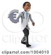 Clipart Of A 3d Young Black Male Doctor Walking To The Right And Holding A Euro Symbol Royalty Free Illustration