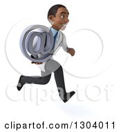 Clipart Of A 3d Young Black Male Doctor Sprinting To The Right And Holding An Email Arobase At Symbol Royalty Free Illustration