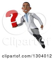 Clipart Of A 3d Young Black Male Doctor Flying And Holding A Question Mark 2 Royalty Free Illustration