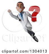 Clipart Of A 3d Young Black Male Doctor Flying And Holding A Question Mark Royalty Free Illustration