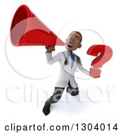 Clipart Of A 3d Young Black Male Doctor Holding A Question Mark And Announcing Upwards With A Megaphone Royalty Free Illustration