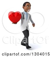 Clipart Of A 3d Young Black Male Doctor Walking To The Right And Holding A Heart Royalty Free Illustration