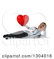 Clipart Of A 3d Young Black Male Doctor Resting And Holding A Heart Royalty Free Illustration