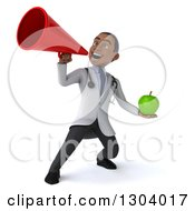 Clipart Of A 3d Young Black Male Doctor Holding A Green Apple And Announcing With A Megaphone Royalty Free Illustration