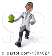 Clipart Of A 3d Young Black Male Doctor Speed Walking And Holding A Green Bell Pepper Royalty Free Illustration