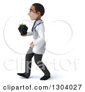 Clipart Of A 3d Young Black Male Doctor Walking To The Left And Holding A Blackberry Royalty Free Illustration