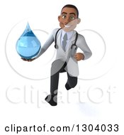 Clipart Of A 3d Young Black Male Doctor Sprinting And Holding A Water Drop Royalty Free Illustration