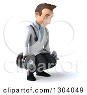 Clipart Of A 3d Young Brunette White Male Physical Therapist Doctor Facing Slightly Right Working Out Squatting With Dumbbells Royalty Free Illustration