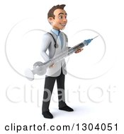 Clipart Of A 3d Young Brunette White Male Doctor Facing Right And Holding A Giant Vaccine Syringe Royalty Free Illustration