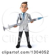 Clipart Of A 3d Young Brunette White Male Doctor Holding A Giant Vaccine Syringe Royalty Free Illustration