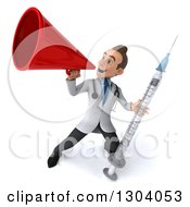 Clipart Of A 3d Young Brunette White Male Doctor Holding A Giant Vaccine Syringe And Announcing Upwards With A Megaphone Royalty Free Illustration