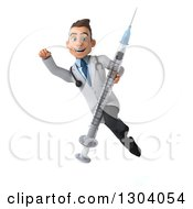 Clipart Of A 3d Young Brunette White Male Super Doctor Flying And Holding A Giant Vaccine Syringe Royalty Free Illustration